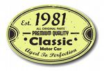 Distressed Aged Established 1981 Aged To Perfection Oval Design For Classic Car External Vinyl Car Sticker 120x80mm